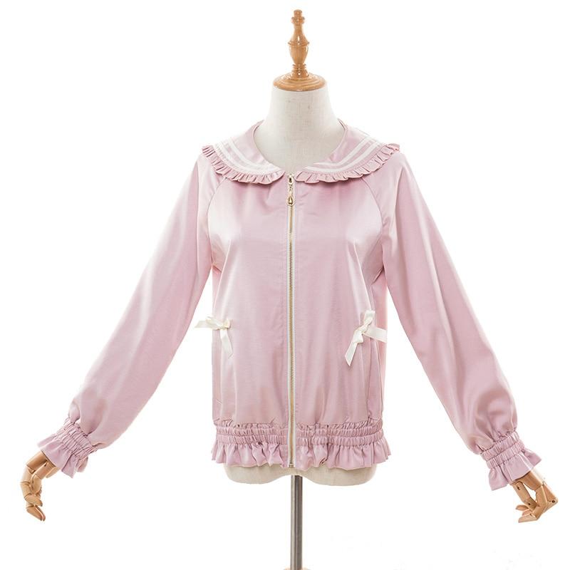 Pousse Automne blanc Belle Doux Sœur Baseball rose Lolita Douce Vestes Manteau Vêtements Mode Et Noir Zjy143 Court Princesse qAFIv