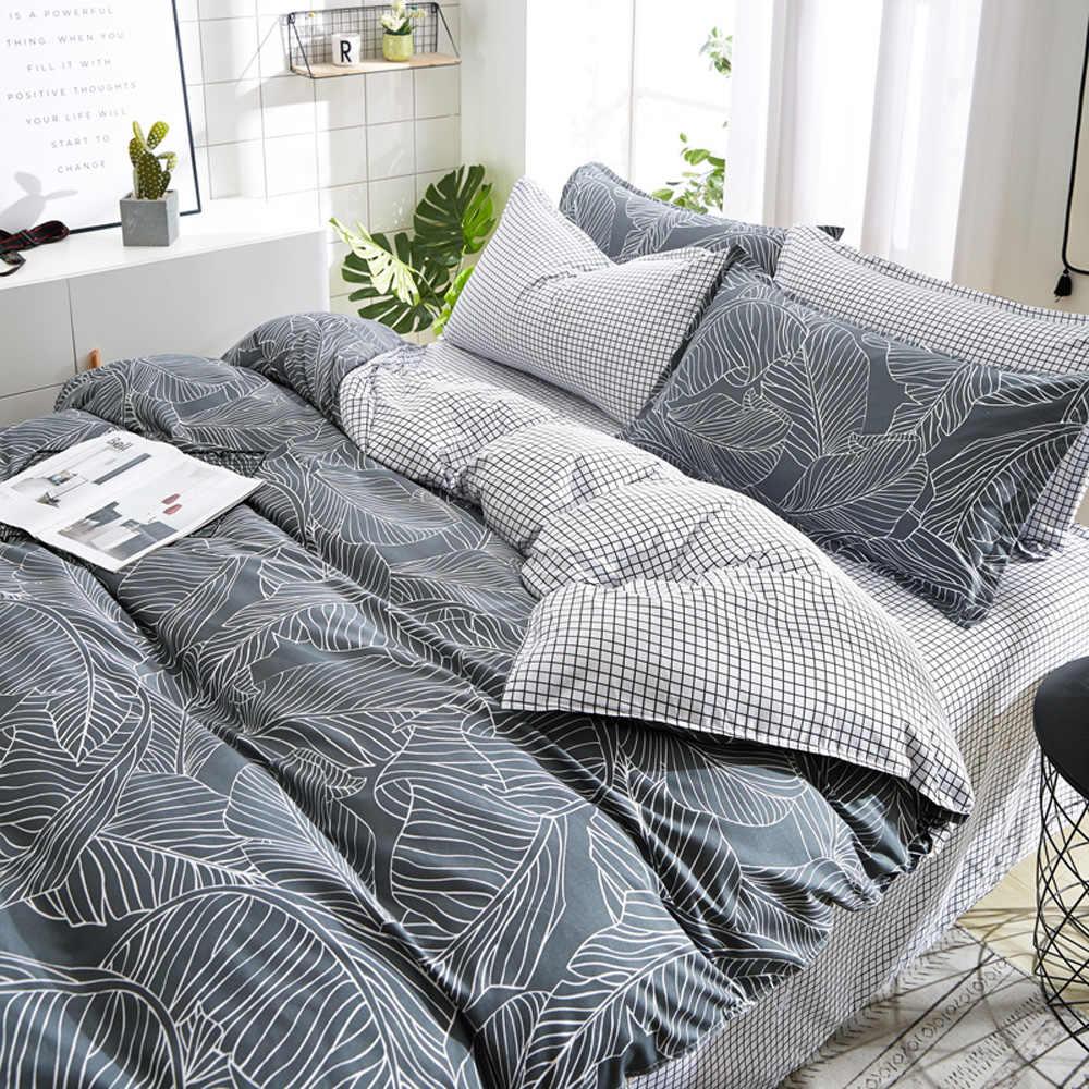 PAPA & MIMA модная кровать линия постельных принадлежностей серые листья черно-белая решетка простыня наволочка пододеяльник набор постельного белья