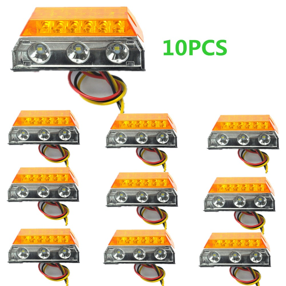CYAN SOIL BAY 10x Amber 15 LED Side Marker Cab Light Clearance Bulb Truck Trailer Caravan SUV ATV cyan soil bay truck trailer side fender marker clearance light chrome bezel 3 led dc 10 30v red