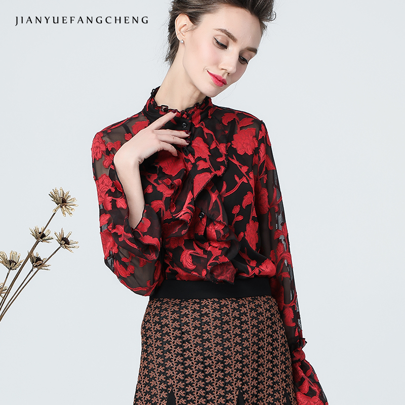 3D broderie rouge Floral Blouse femmes automne Top col montant manches longues évasées hauts Vintage Street wear femmes Blouses et hauts - 4