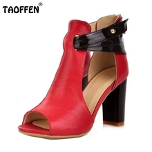 Size 32-43 Women's Natural Real Genuine Leather High Heel Sandals Gladiator Ladies Fashion Heels Platform Sandals Shoes R233