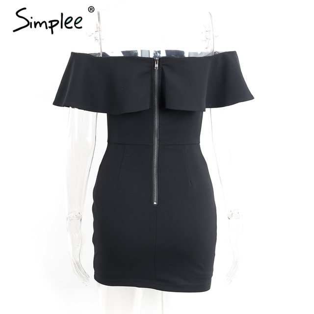Simplee Sexy off shoulder ruffle women dress Flower embroidery bodycon summer dress Elegant black party short dress vestidos