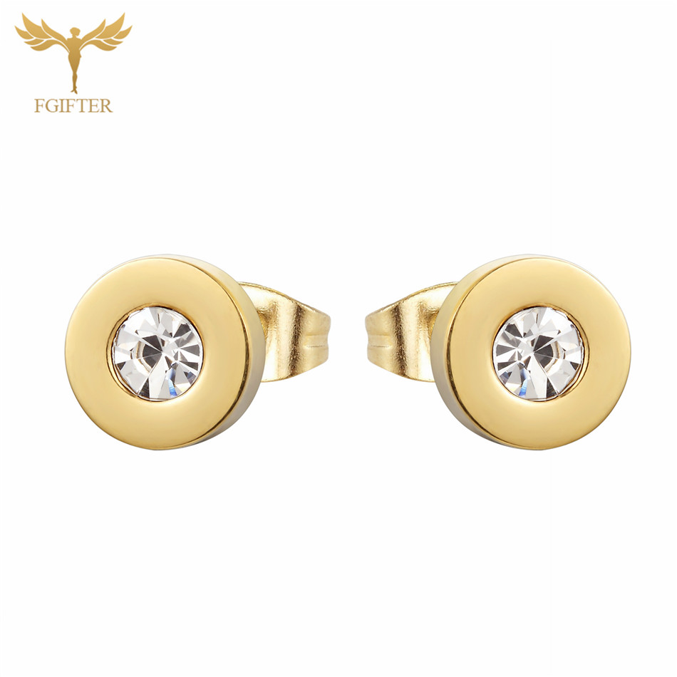 FGifter Crystal Minimalist Earrings Simple Round Gold Color Stainless Steel Earings for Men Women Gift Jewelry