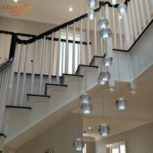 Современная хрустальная люстра, светодиодный подвесной светильник, большой стеклянный шар, стеклянные люстры, роскошная лестница, хрустальная люстра, лампа
