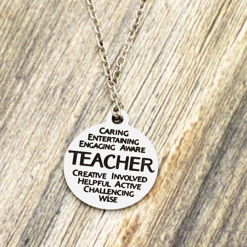 XIAOJINGLING 2018 New Silver Necklace Women Men Teacher Trendy Gift Metal Pendant Necklace Graduation Season Teachers Day Gift