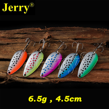 Jerry 5pcs 6.5g wholesale freshwater fishing baits flutter spoon lures for lake trout pike zander spinnerbait