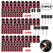 319Set Sanding Bands Drum Sanding Kit 1/4 3/8 1/2 80-320 Grit Band Shank Rotary Tools Abrasive Tool Accessories dophee dremel accessories 12 5mm grit 80 sanding bands 3 17mm sander drum mandrel rotary nail drill bits electrical tools 10s