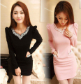 2016 Ol Office work wear women's sexy slim beading diamond long sleeve solid puff sleeve Thick Bodycon dress korean bottoming