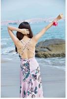 SheIn Women Sexy Lady Small Broken Flower Of Sleeveless Dresses Summer V Neck Unbacked Cutting Split