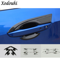 Car Cover Trim ABS Chrome External Door Bowl Stick Lamp Molding 4pcs Set For Honda Civic
