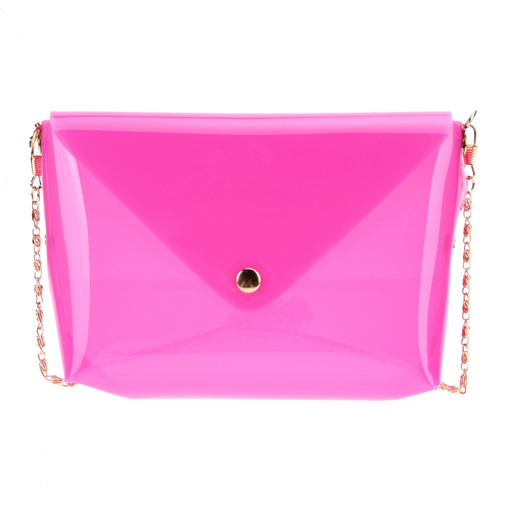 2018 Women Jelly Bag Soft Plastic Transparent Mini Chain Bag Candy Colors Shoulder Crossbody Bag Crystal Silicone Bags M3AO