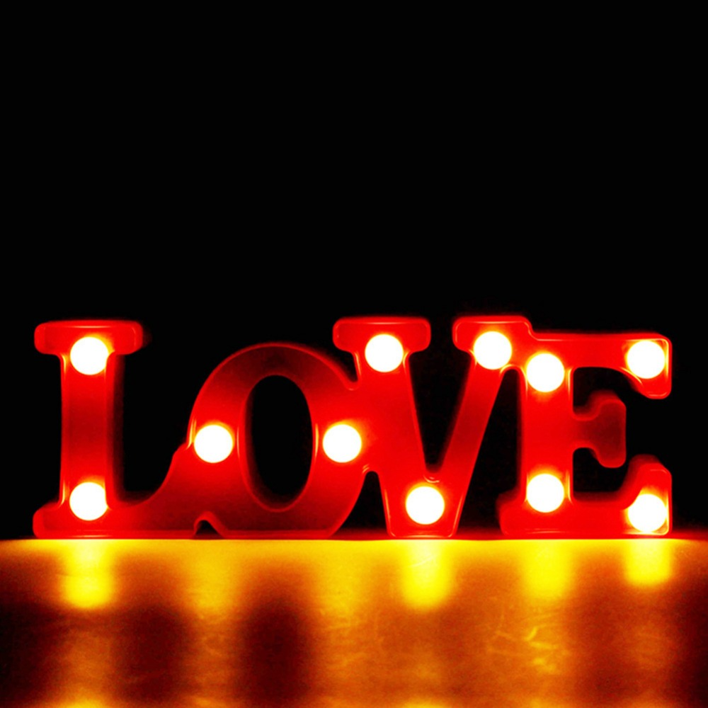 Romantisk LED 3D-lampa Liten röd ÄLSKA Marquee Nattlampor Belysning Hem Sovrum Bröllop Dekoration Valentine Girl Friend Gift