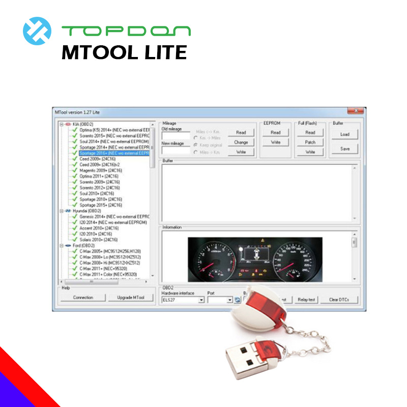 MTool Lite Versione 1.27 Auto Diagnostico Chilometraggio Programmatore Chilometraggio Cambiamento di Auto OBD Auto Chilometraggio Correzione strumento di diagnostica OBD2