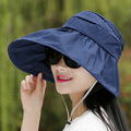 Limit time 2016 New anti ultraviolet high hats beach hat folded along solid sun hat Visor Hats summer spring lady caps wholesale