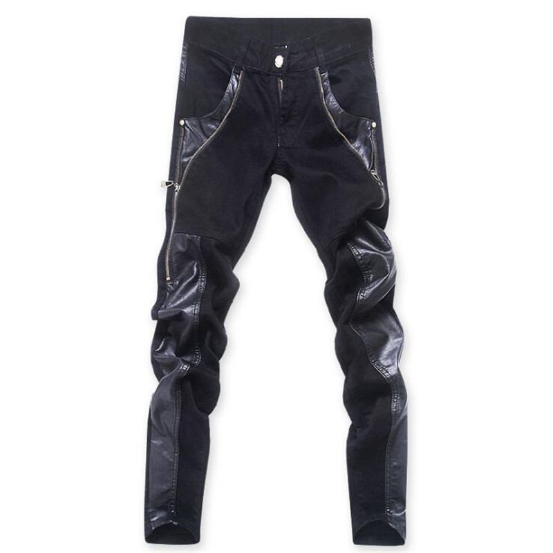 ФОТО ABOORUN 2017 Mens Black Skinny Jeans PU Leather Patches Moto Jeans Fashion Zipper Jeans for Male P7019