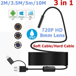 3-in-1 Endoscope Camera Micro USB Type-c USB Inspection Camera 720P HD IP67 8MM Waterproof Tube Snake Borescope Camera