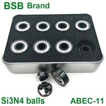 16 шт. BSB Швейцарский подшипник Si3N4, черные керамические 6 шариковых коньков, подшипник для скейтборда 608z, фототехнические подшипники
