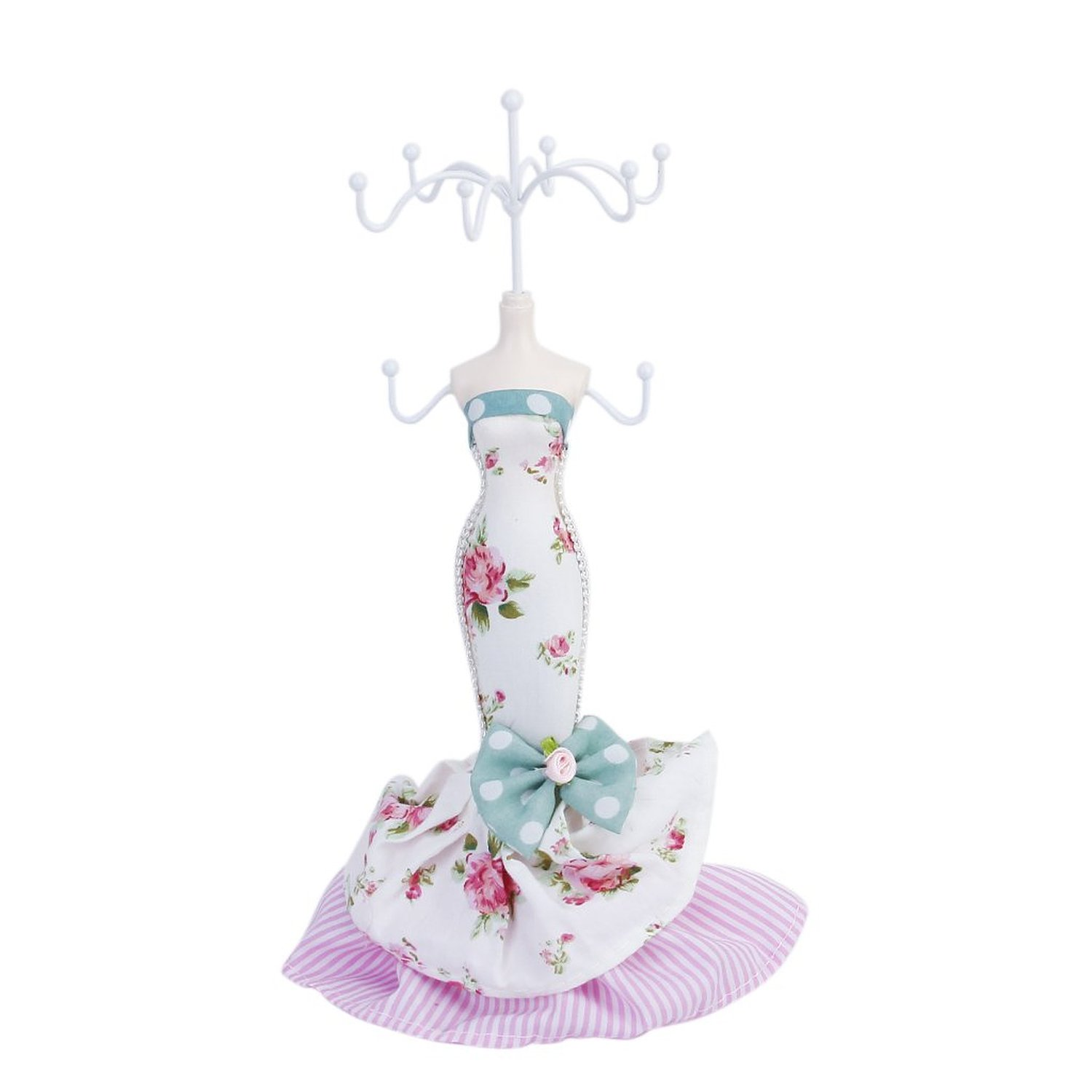 Mermaid Women's Mannequin Jewelry Tree Sheet Display Holder Bow / Petite Print