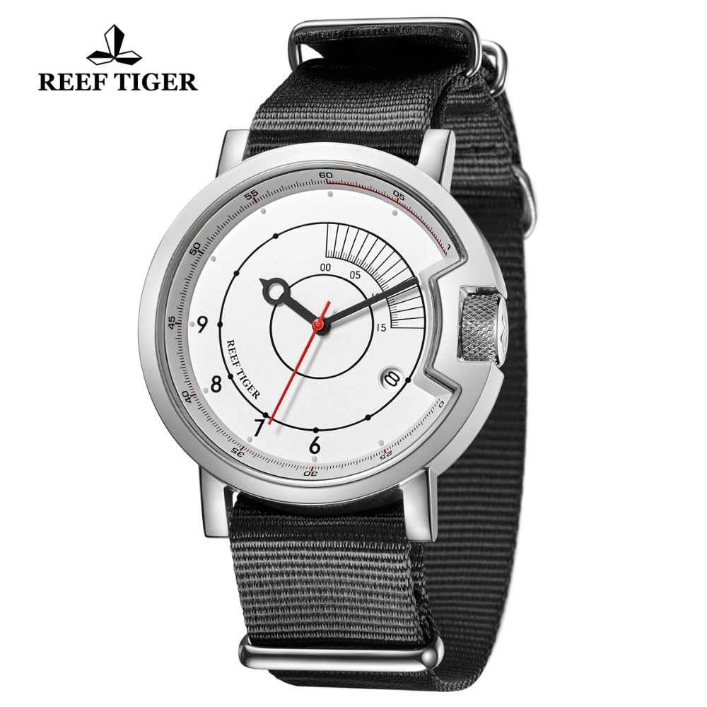 2019 Reef Tiger/RT New Design Simple Watch Men Nylon Strap Waterproof Military Luxury Brand Automatic Mechanical Watches RGA9035