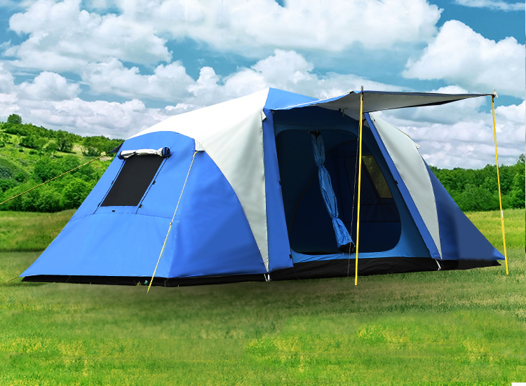 Half automatic 2 bedroom 1 living room 2 layer aluminum rod anti rain windproof family party fishiing beach outdoor camping tent