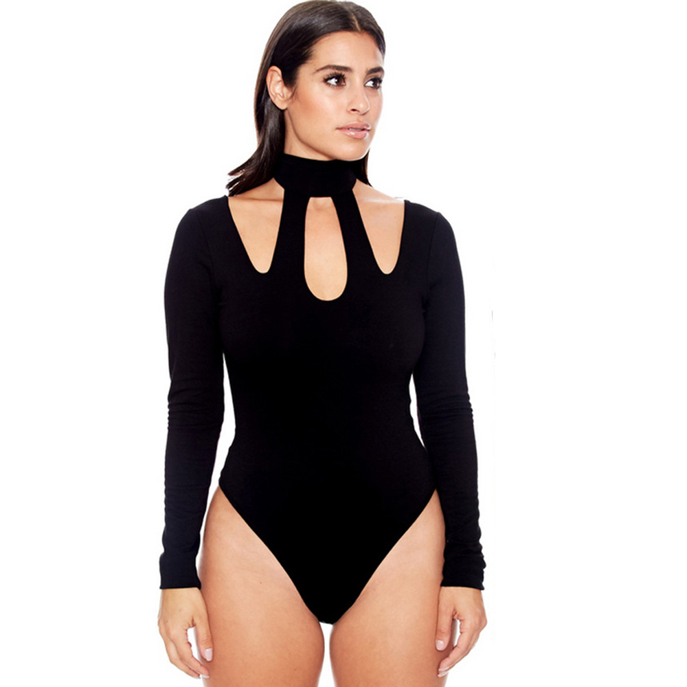 women halter bodysuits plus size lady female sexy long sleeve