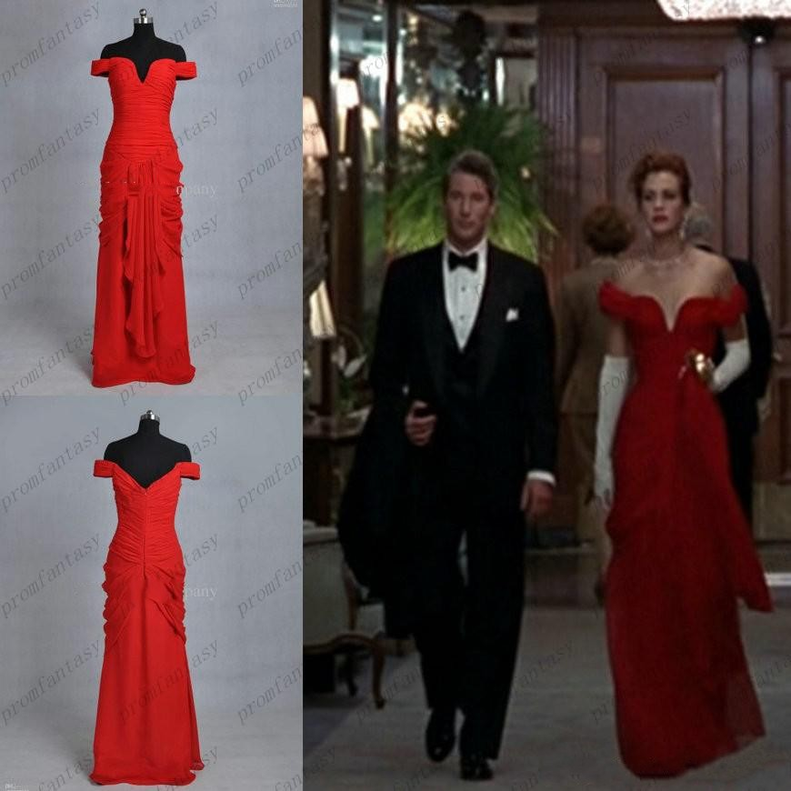 20b21d3c2 Elegant Inspired Julia Roberts Red Evening Prom Dresses in Pretty Woman  Actual Images Off Shoulder Pleat Chiffon Celebrity Gowns