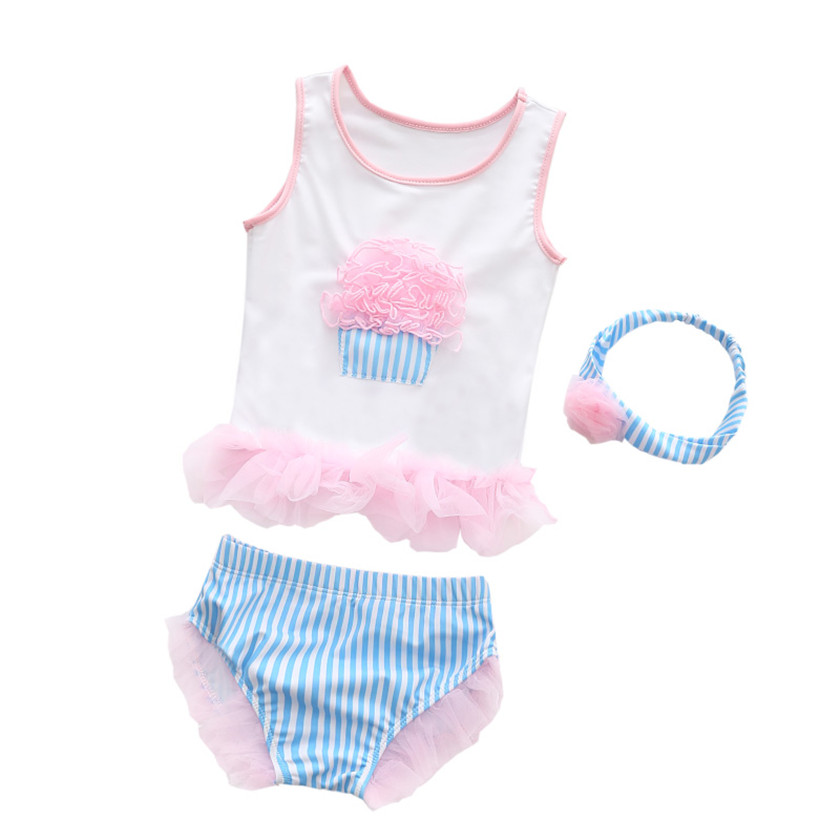 3PCS 2018 Summer Toddler Infant Baby Girl Sets Swimsuit Swimwear Suits Clothes Ice Cream Swimming Baby Bathing Costume Hot Sale