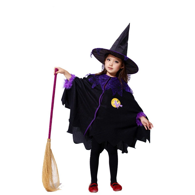 Baby Girls Clothes Set Halloween Cosplay Kids Christmas Clothing Costumes Girl Cloak+Hat 2pcs Masquerade Dance Witch Outfit F20 купить