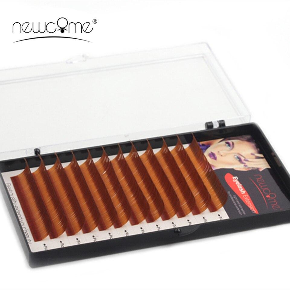 1 Tray High Quality Long Brown Eyelash Extensions Natural Mink Silk Lashes C/D Curl 0.07 0.10mm Eye Lash Extension