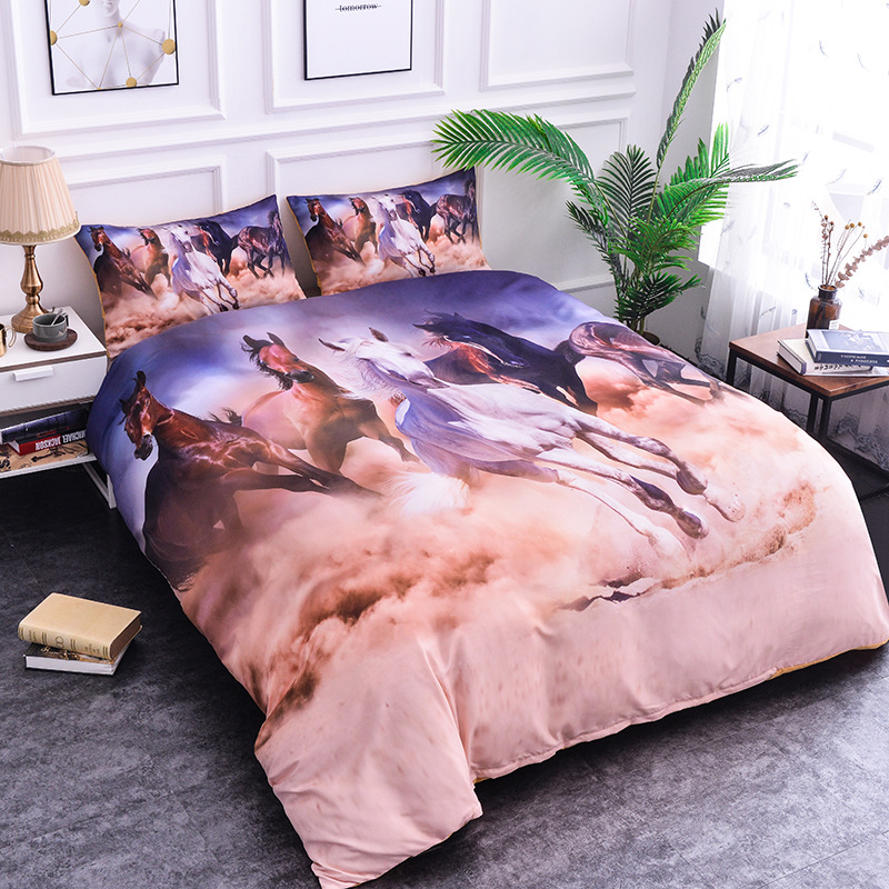 Bedding-Set Duvet-Cover Horse Animal-Bedclothes Home-Textiles Colorful Bohemia 3-Piece