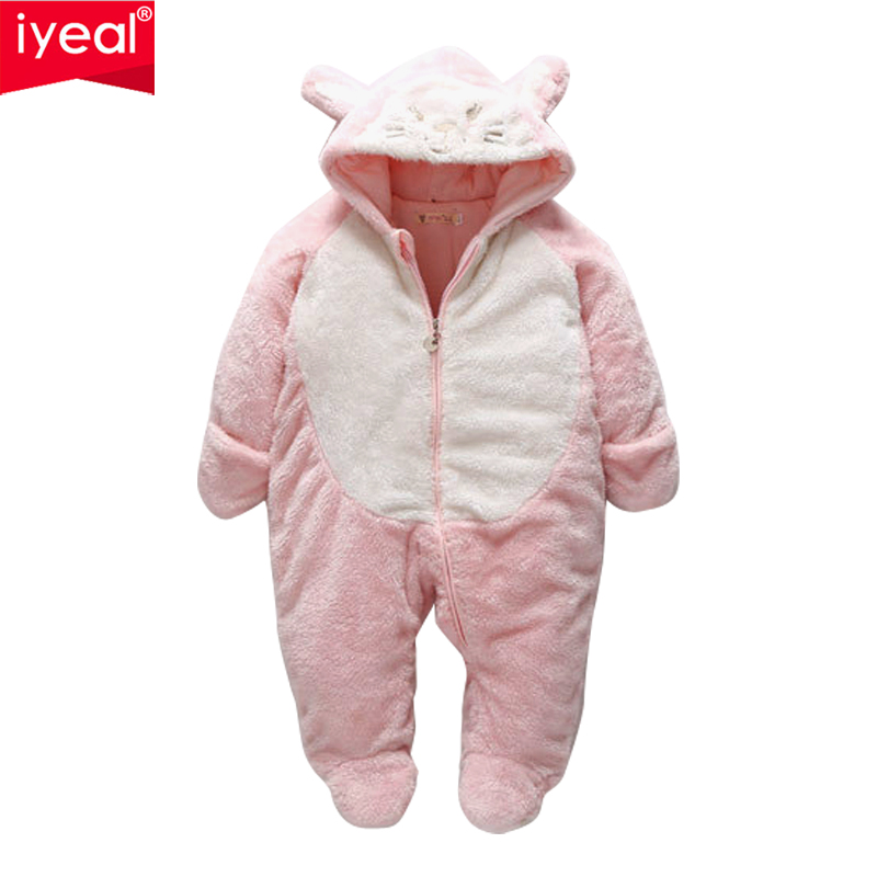 IYEAL Winter Newborn Children Baby Romper Cartoon Hooded Baby Clothes Cotton Warm Infant Girl Jumpsuit Toddler Baby Boy Clothing newborn autumn winter clothes baby romper clothing long sleeve cotton animal baby bebe onesie girl boy cartoon warm jumpsuit