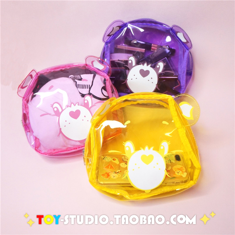 Cartoon Care Bears Plastic Cosmetic Bag  Waterproof Transparent Makeup Tool Storage Ladies Bag Swimming Bags