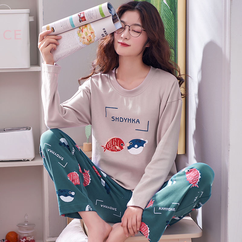 Women Clothes for Autumn winter Pajamas Sets O-Neck Sleepwear Lovely Rabbit Pijamas Mujer Long Sleeve Cotton Sexy Pyjamas Female 82