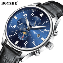 купить BOYZHE Watch Men Luxury Waterproof Fashion Business Casual Leather Sport Mechanical Watches Self Wind Hollow Back Montre homme дешево