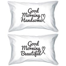 His and Hers Matching Pillowcases – Good Morning Couple Pillow Covers (Set of 2)  Zippered Pillowcase