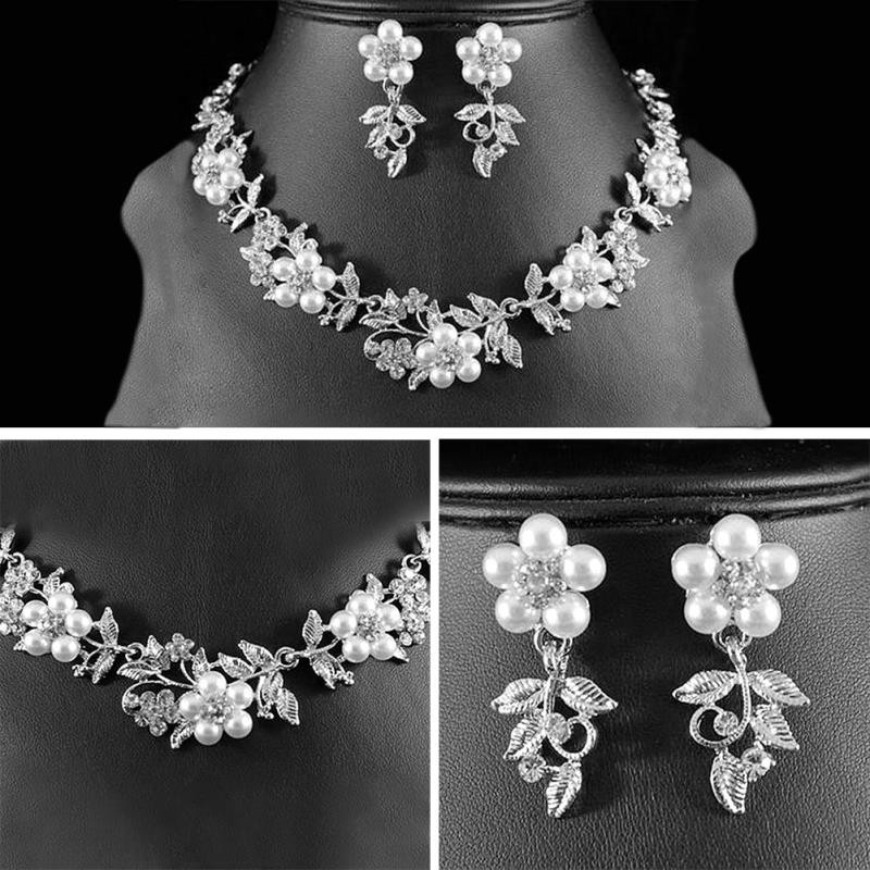 Bridal Wedding Flower Charm Pearl Austrian Crystal Necklace Earrings Jewelery Set 5