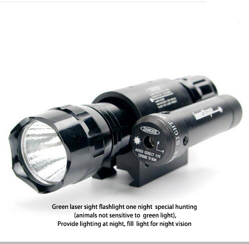 2 IN 1 Combo Zoom CREE Green laser Flashlight With Red Dot Laser Sight For Rifle paris combo