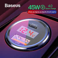 Baseus Quick Charge 4.0 3.0 Car Charger For Xiaomi Mi 9 Redmi Note 7 Pro 45W PD Fast Phone Charger in car AFC SCP For Huawei P30