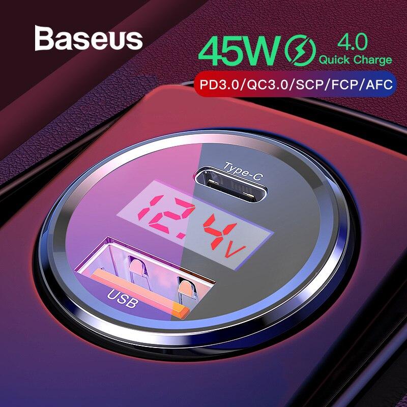 Chargeur rapide 4.0 3.0 de voiture Baseus pour Xiao mi mi 9 rouge mi Note 7 Pro 45W PD chargeur rapide de téléphone dans la voiture AFC SCP pour Huawei P30