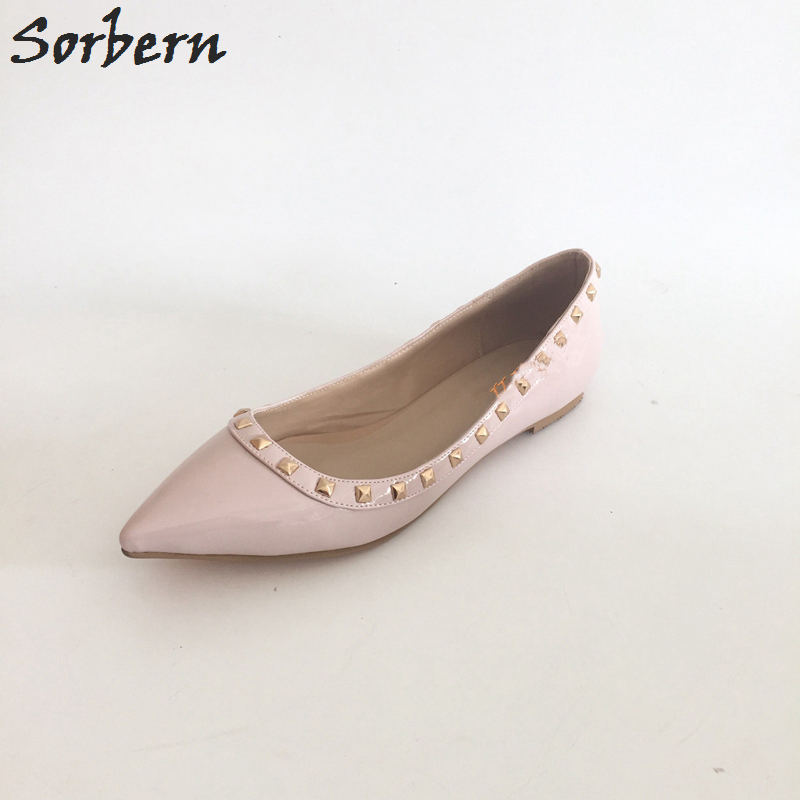 Sorbern Nude Flat Heel Pointed Toe Women Shoes Rivets Slip-On Spring Shoes For Women 2017 Women Flat Shoes Custom Soulier Femme sorbern nude flat heel pointed toe women shoes rivets slip on spring shoes for women 2017 women flat shoes custom soulier femme