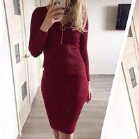 Knitted Sweater Zipper Dresses Sexy Bodycon Winter Women 2017 OL Ladies Party Bandage Vestido Malha Dress