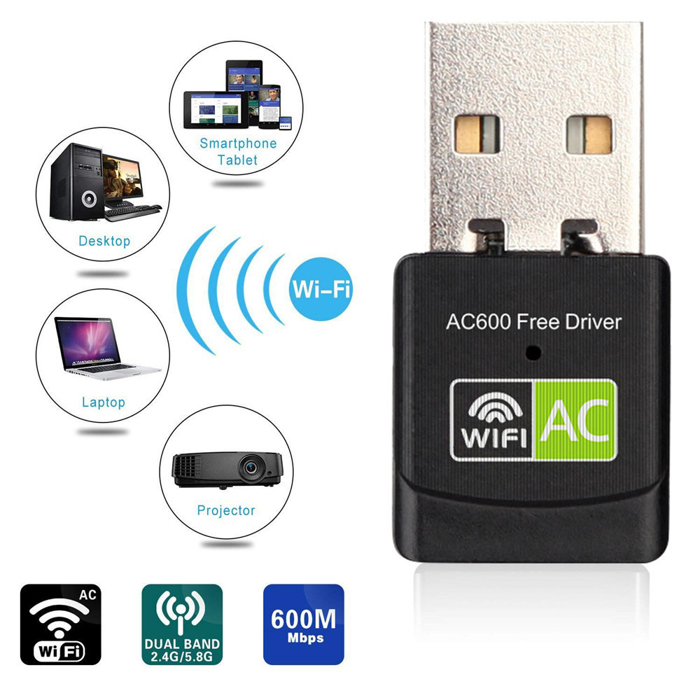 M-600P Mini USB WiFi Adapter 600Mbps Dual Band Wireless Network Card for Desktop