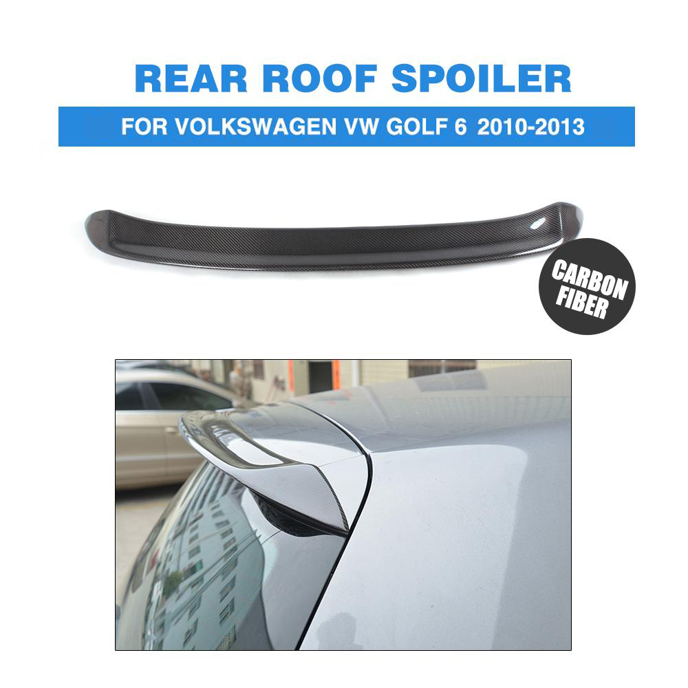MK6 Carbon Fiber O Style Rear Roof Spoiler Wing for Volkswagen VW Golf 6 VI MK6 Standard GTI R20 2010-2013 FRP Unpainted high quality golf 6 mk6 carbon fiber full replacement car review mirror cover caps for vw golf6 mk6