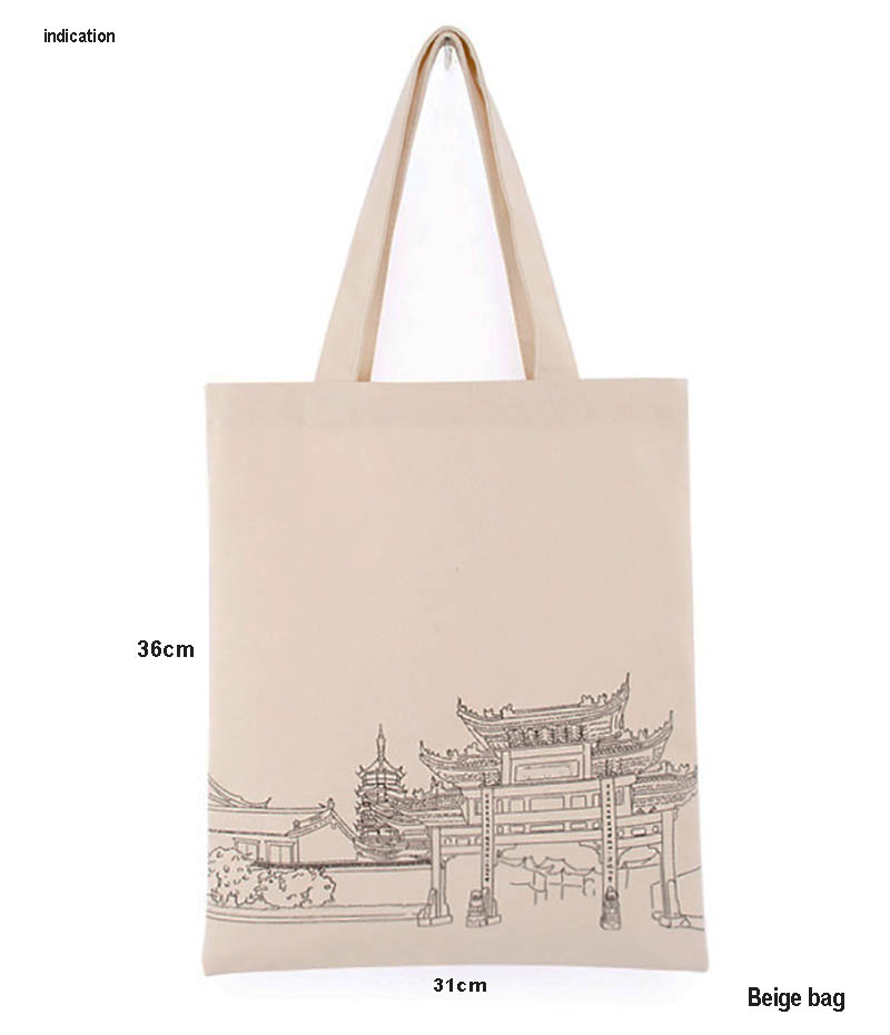 100Pcs/Lot Beige Size 31Cm*36Cm Customized Logo Silkscreen Print Company Tote Bag Eco Green Cotton Canvas Shopping Bag