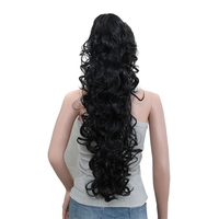Luxury For Braiding 75cm 30 High Temperature Fiber Hairpieces Long Curly Synthetic Claw Clip Ponytail Hair