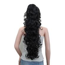 """Lujo para trenzar 75cm 30 """"fibra de alta temperatura postizos largo rizado sintético Garra Clip cola de caballo extensiones de cabello para las mujeres"""