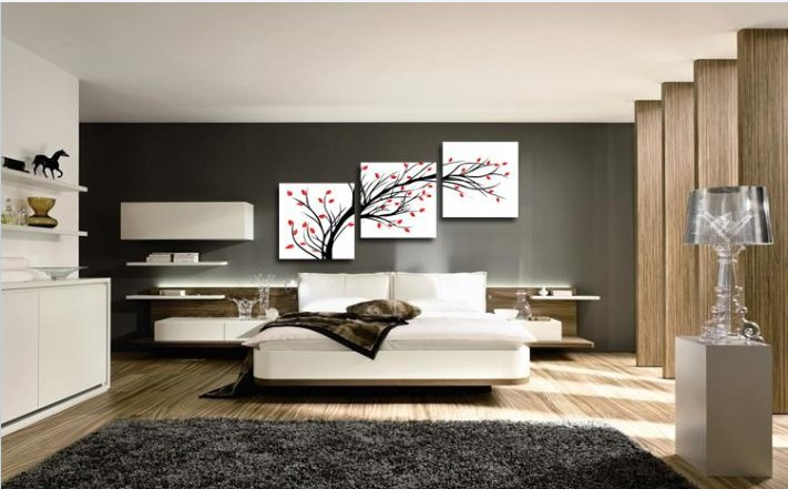 Online 3 Pieces Rich Tree Red Black Picture Living Room