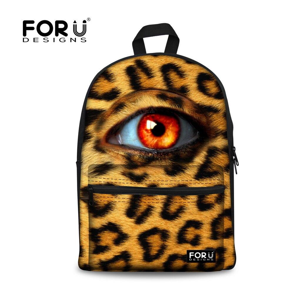 FORUDESIGNS/3D леопардовый большой глаз женский рюкзак для холстов для девочек подростков рюкзаки для школьников, студентов Mochila Femininas