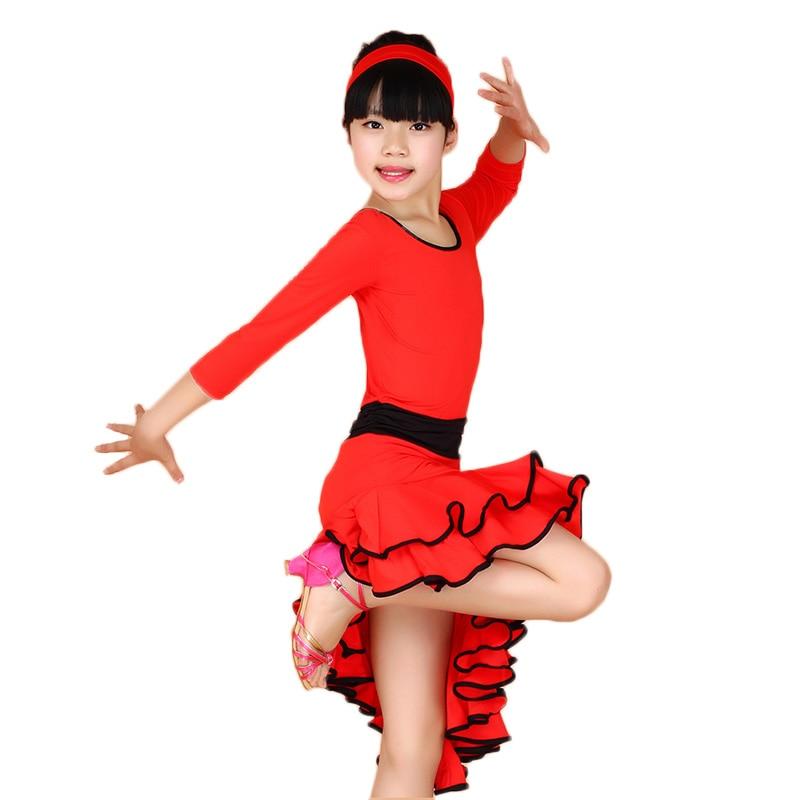 Фото Latin Costumes for Kids Girls Performance Dress Long Sleeves Costumes Ballroom Dance Dresses Kids Dancewear Vestido Baile Latino