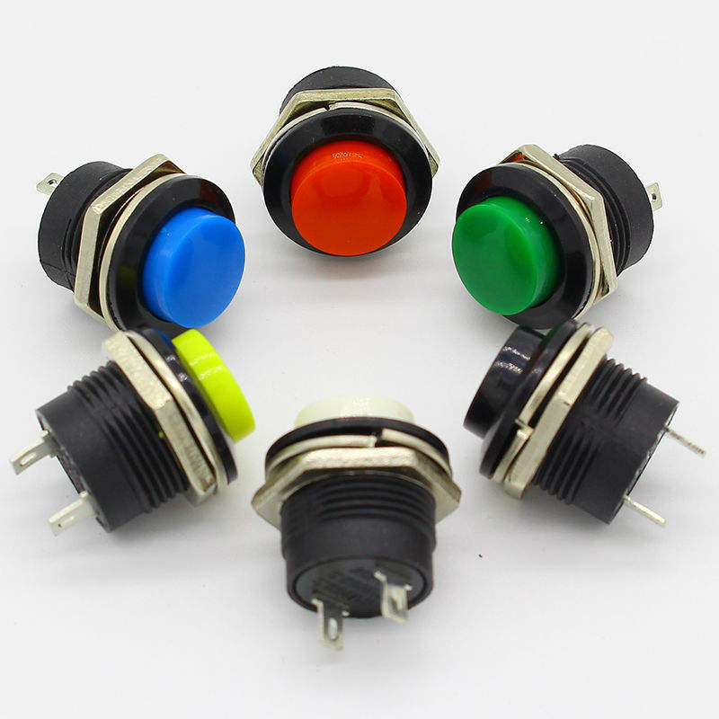 AC 250V 3A 2 Pole Terminal SPST Momentary Green Round Push Button Switch 5Pcs